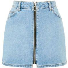 PETITE Zip Through Denim Skirt ($44) ❤ liked on Polyvore featuring skirts, blue skirts, petite denim skirt, knee length denim skirt, zipper skirt and petite skirts #bestlengthforskirtsonpetites