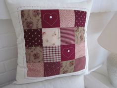 "Shabby Chic Patchwork Cushion 18"" x 18"""