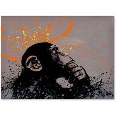 Trademark Fine Art The Thinker Canvas Art by Banksy, Size: 14 x 19, Black