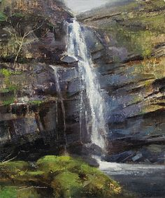 Base of the Falls by Matthew J Cutter Oil ~ 12 x -