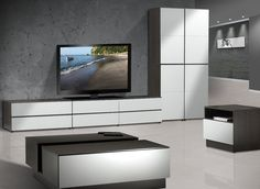 Nexera 220433 Allure TV Stand Ebony and White *** You can find out more details at the link of the image. (This is an affiliate link) Coffee And End Tables, Coffee Table With Storage, Modern Coffee Tables, Entertainment Center Furniture, Entertainment Centers, Tv Unit Decor, Storage Spaces, New Homes, Entertaining