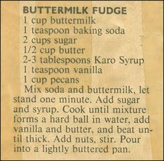 Family Recipe Friday ~ Buttermilk Fudge #genealogy #familyhistory