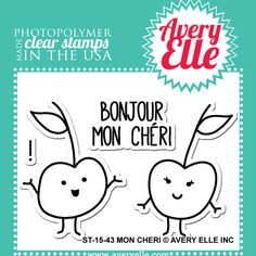 Mon Cheri Stamp Set. €4. The cute cherries, from Avery Elle, in this four clear stamp set are a clever way to create a cute greeting card or fun element on your scrapbook layouts.  Visit our online shop for more fantastic stamps just click the link below.
