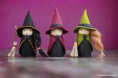 Halloween Witch Peg Dolls-posted by Lia GriffithFollow the step-by-step photo tutorial below to help you assemble your Halloween witch dolls.