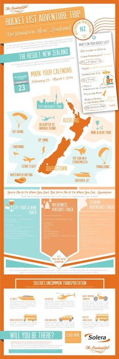 Bucket List Adventure Trip: New Zealand #Travel #New_Zealand #Infographic