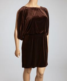 Take a look at this Espresso Velvet Drop-Waist Dress - Plus by Jessica Simpson Collection on #zulily today!