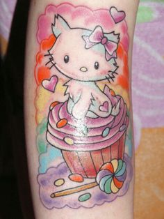 Charmmy Kitty Tattoo by on DeviantArt Hello Kitty Tattoos, Cat Tattoo, Deviantart, Ink, Animals, Animales, Animaux, Animal, India Ink