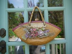 Vintage Straw Purse with Beautiful Millinery Flowers by annykate, $52.00