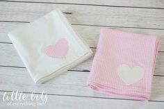 Pink and White Heart Flannel Receiving Blanket Set