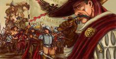 Estalian swordsmen and Giant mercenary Warhammer Fantasy, Warhammer Empire, Warhammer Art, Fantasy Rpg, Conquistador, Dark Elf, Fantasy Characters, Old World, Concept Art