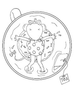 Free Dearie Dolls Digi Stamps: Tea Time Swimming Mousie