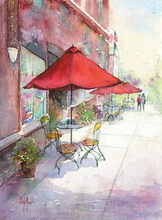 Versailles Cafe by Judy Mudd Watercolor