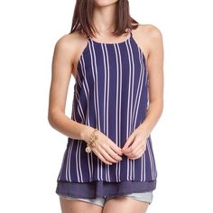 "She and Sky Layered Striped Top Navy blue and white striped top with a layered lining effect. Very pretty. 70% Cotton/30% Polyester Measures 27"" long.     ✅Price is firm unless bundled.  ✅Offers not accepted on retail items. She and Sky Tops"