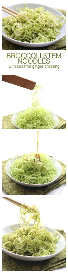 Low carb noodles made from broccoli stalks and topped with a spicy ginger sesame dressing. A healthy summer side dish or salad.