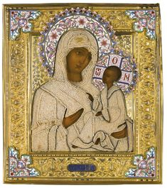 A silver-gilt, seed pearl and enamel icon of the Tikhvinskaya Mother of God, Ivan Alekseev, 1899-1908 | Lot | Sotheby's