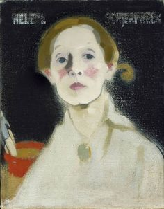Helene Schjerfbeck (Finnish, 1862-1946). Self Portrait with Black Background, 1915. Oil on canvas.