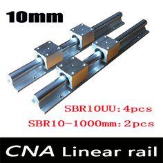 2pcs SBR10 L 1000mm linear rail support with 4pcs SBR10UU linear guide auminum bearing sliding block cnc parts #jewelry, #women, #men, #hats, #watches