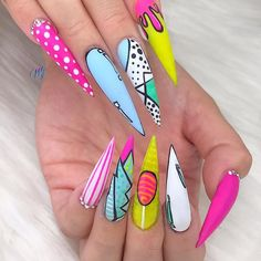 All The Amazing African Print Outfits We Can't Live Without Edgy Nails, Dope Nails, Bling Nails, Swag Nails, Stylish Nails, Bling Nail Art, Funky Nail Art, Grunge Nails, Pop Art Nails