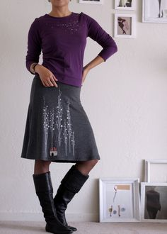 Unique Gift for Women, Knee Length Aline Skirt, Plus Size Jersey Skirt, Fold over waist band, Graphic Skirt-Surrounded by big trees by Zoeslollipop on Etsy https://www.etsy.com/listing/220150436/unique-gift-for-women-knee-length-aline