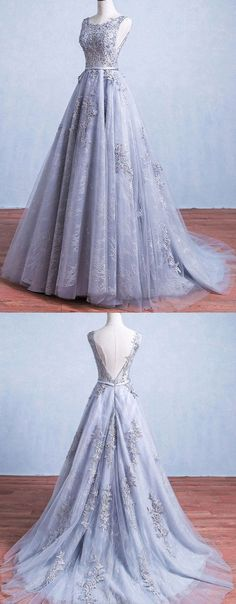 Grey Prom Dresses, Long Prom Dresses, Glamorous A-Line Round Neck Gray Tulle Ball Gown Long Prom Dress Appliques Evening Dress Gray prom dresses, long prom dresses, glamorous A-line round collar Gray tulle prom dress Long prom dress Grey Prom Dress, Elegant Prom Dresses, Backless Prom Dresses, A Line Prom Dresses, Pretty Dresses, Long Dresses, Wedding Dresses, Dress Long, Grey Gown