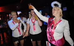 Girls on a hen night in Blackpool,