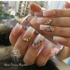Minx Nails, 3d Nails, Nail Manicure, French Nails, Gorgeous Nails, Pretty Nails, Nails Ideias, Gothic Nails, Elegant Nails