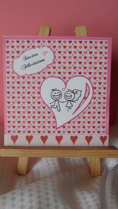 Cartes félicitations mariage dominance fuchsia et blanc : Cartes par made-by-newscrapeuse