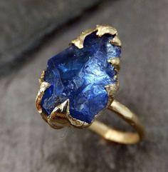 Raw Natural Tanzanite Crystal Gold Ring Rough Uncut Gemstone tanzanite recycled 14k stacking cocktail statement byAngeline