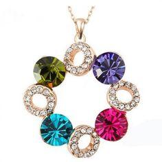 Fashion Multicolor Circle Crystal Pendant Necklace