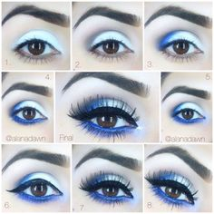 Eye Makeup Tips.Smokey Eye Makeup Tips - For a Catchy and Impressive Look Eye Makeup Blue, Blue Makeup Looks, Love Makeup, Makeup Inspo, Eyeshadow Makeup, Makeup Inspiration, Makeup Ideas, Makeup Tutorials, Eyeshadow Tutorials