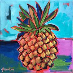 This is a original acrylic painting by artist Laura Dro. No prints will be made of this one! The pineapple ships directly from me in my studio in Chicago. Copic Marker Art, Pineapple Art, Mediums Of Art, Collage Artwork, Guache, Tropical Fruits, Beginner Painting, My Favorite Image, Abstract Flowers