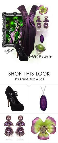 """Maleficent Inspired Outfit"" by rubytyra ❤ liked on Polyvore featuring Disney, Lanvin, Audace, Suzanna Dai, Alexis Bittar, maleficent, beauty, black, sleeping and purple"