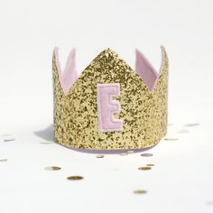 Birthday Crown - Gold Glitter and pink -Personalised Letter - Cake Smash - Photo Prop by Schooza on Etsy