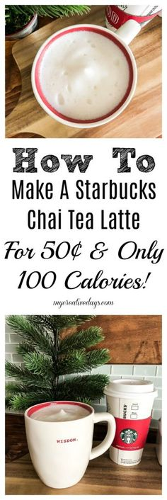 If you love Starbucks but want to find a way to save money and calories when you enjoy your favorite drink look no further. This homemade Starbucks Chai Tea Latte recipe costs 50 to make and only has 100 calories in it! Healthy Starbucks Drinks, Yummy Drinks, Starbucks Calories, Starbucks Recipes, Tea Recipes, Coffee Recipes, Drink Recipes, Copycat Recipes, Recipies