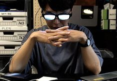 "A common trope in anime is light reflecting on glasses. You've seen them in Detective Conan, Evangelion and more. TV Tropes calls these lenses ""scary shiny glasses."" One man decided to make them. Glasses Meme, Anime Hairstyles Male, Badass Drawings, Sleeping Boy, Anime Guys Shirtless, Anime Guys With Glasses, Men Abs, Tv Tropes, Wattpad"