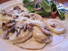 Ravioli in Mushroom-Walnut Cream Sauce