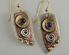 Hey, I found this really awesome Etsy listing at https://www.etsy.com/listing/169293107/metalsmith-earrings-mixed-metal-earrings