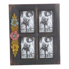 """Weathered picture frame with a floral adornment. Holds four photographs. Product: Picture frameConstruction Material: Distressed wood and metalColor: BlackFeatures: Holds four 4"""" x 6"""" pictures Metal floral embellishmentDimensions: 16"""" H x 13"""" W x 1.25"""" D"""
