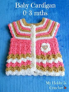 """Baby Cardigan """"Stripes and Bubbles"""" by Kinga Erdem - free crochet pattern (and variations)"""