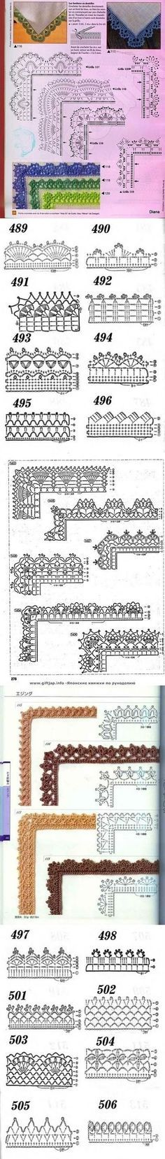 Edging - charted only, many with corners Many free crochet edging patterns: