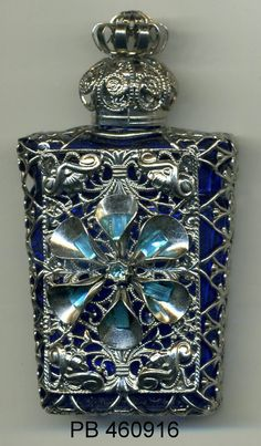 Perfume Bottle, aroma bottle, essential oil vial, Bohemia Glass royal blue bottle with silver filigree with turquoise rhinestones PB 460916