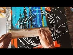 EASY Abstract Painting EVER / Using rubber squeegee / Acrylics / Demonstration - YouTube