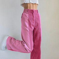 Corduroy Pants Women, Trousers Women, Pants For Women, Ankle Length Pants, Pleated Mini Skirt, Pink Pants, Harajuku Fashion, Wide Leg Trousers, Women's Trousers