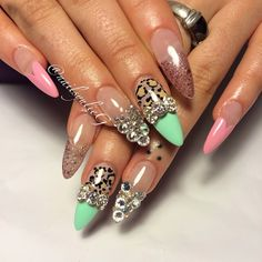 Pastel Cheetah Bling Almond Stiletto Nails @nailsyulieg on IG