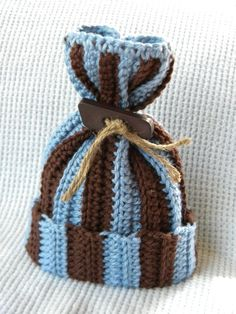 Crocheted Baby Boy Sack Hat