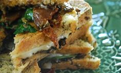 brie and bacon grilled cheese with mushrooms and spinich.