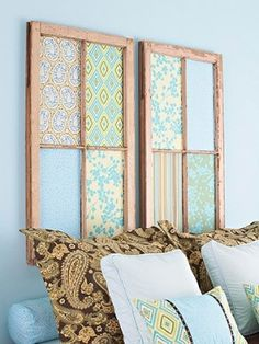old windows with fabric by Mrs Gooze