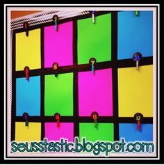 Student work display using neon card stock & glitter clothespins. Blogger changes out student writing weekly. Easy Peasy Quick & Easy!