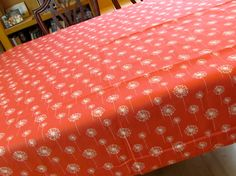 Table Cloth #05, Short with Dandelions in Coral, made from Upcycled, Designer Fabric