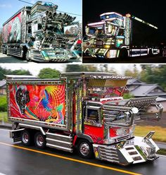 Dekotora.  Japanese trucks.  Yep.  Refer back to the other pin I did on the Japanese....    Japan...Producing 78% of the world's wierd shit since 1952.